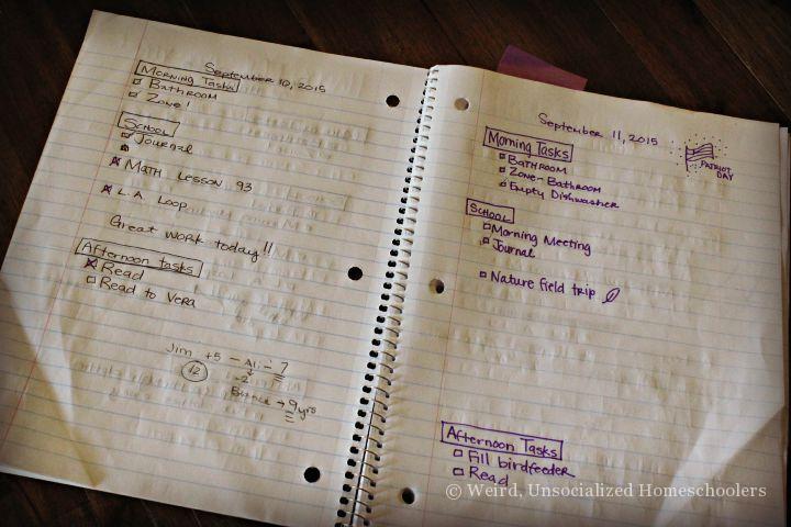 Spiral notebooks as assignment books